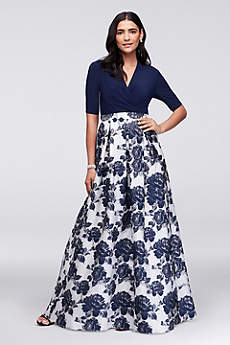 Surplice Ball Gown with Metallic Jacquard Skirt