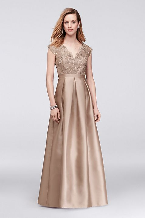 Scalloped Lace And Mikado V Neck Ball Gown