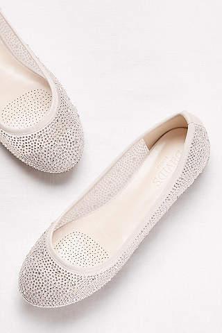David's Bridal Silver Flats