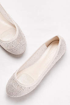 David's Bridal Beige Ballet Flats (Mesh and Scattered Crystal Ballet Flats)