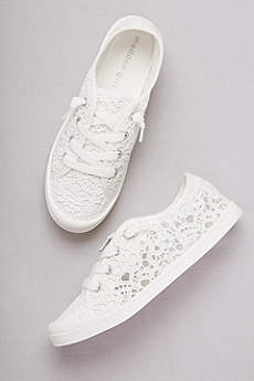Madden Girl White Casual Shoes (Crochet Lace Sneakers)