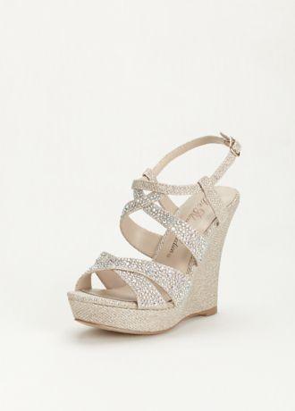 Davids Bridal High Heel Wedge Sandal with Crystal Embellishment Style BALLE8  B00SN0ON9S