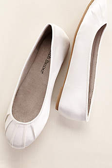 David's Bridal White Ballet Flats (Dyeable Satin Pleated Toe Ballet Flat)