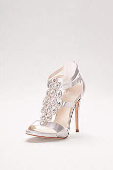 David's Bridal Grey Peep Toe Shoes (Crystal-Embellished Strappy Heels)
