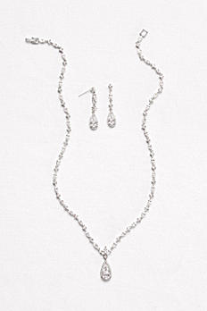 Dainty Cubic Zirconia Necklace and Earring Set BAY12