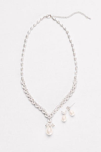 pearl and cubic zirconia necklace and earring set bay5