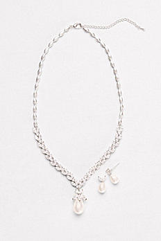 Pearl and Crystal Leaf Necklace and Earring Set BAY5