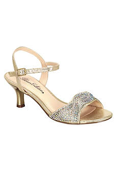 Blossom Beige Peep Toe Shoes (Low Heel Quarter Strap Sandal with AB Crystals)
