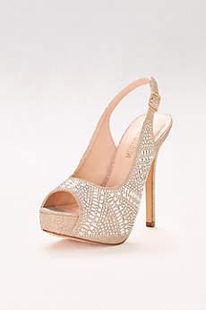 Blossom Beige Peep Toe Shoes (Geometric Crystal Slingback Platform Heels)