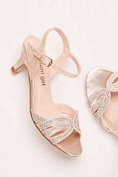 Blossom Grey Flowergirl Shoes (Girls' Low Heel Quarter Strap Crystal Sandal)