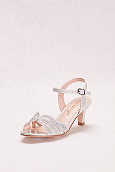 Girls' Low Heel Quarter Strap Crystal Sandal BCRYSTAL11