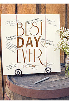 Personalized Best Day Ever Wood Art Guest Book BDE-2173W