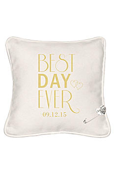 Personalized Best Day Ever Ring Bearer Pillow BDE-3111PR