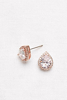 Pear-Shaped Cubic Zirconia Halo Studs BE02493