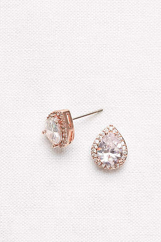 Pear Shaped Cubic Zirconia Halo Studs