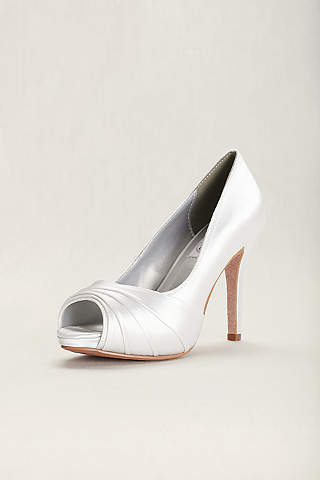 Dyeables White P Toe Shoes Bea Satin Dyeable High Heel Pump