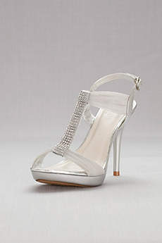 David's Bridal Beige Peep Toe Shoes (Crystal T-Strap High Heel Sandals)
