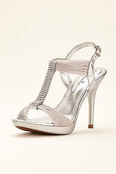 Blossom Beige Peep Toe Shoes (Crystal T-Strap High Heel Sandal by Blossom)