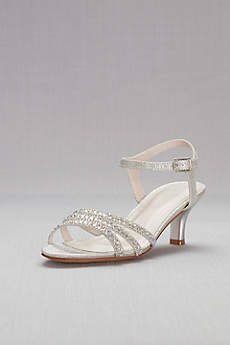 David's Bridal Beige Peep Toe Shoes (Strappy Low Heel Sandals with Crystals)