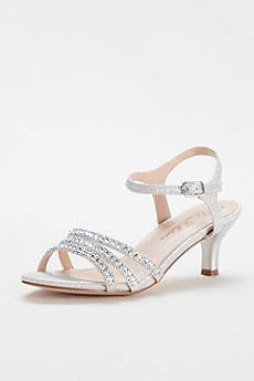 Blossom Beige Peep Toe Shoes (Strappy Low Heel Sandal with Crystals by Blossom)