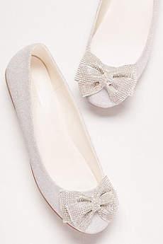 David's Bridal Grey Ballet Flats (Glitter Bow Ballet Flats)