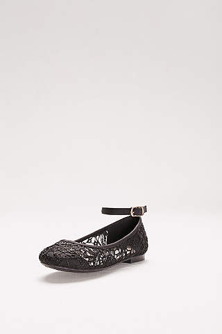 Blossom Black Ballet Flats (Flower Girl Crochet Pattern Lace Ballet Flats)
