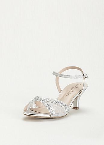 Lace and Rhinestone Mid Heel Sandal ABERK155