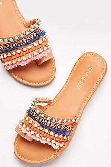 Bamboo Beige Sandals (Colorful Tapestry Slides)