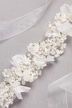Handmade Pearl-Encrusted Flower Sash