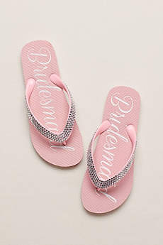 David's Bridal Pink Flip Flops (Crystal Bridesmaid Flip Flops)