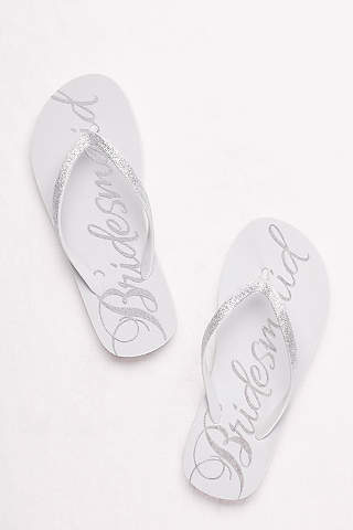 Grey Flip Flops Glitter Bridesmaid