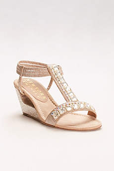 New York Transit Beige Sandals (Double Crystal T-Strap Wedges)