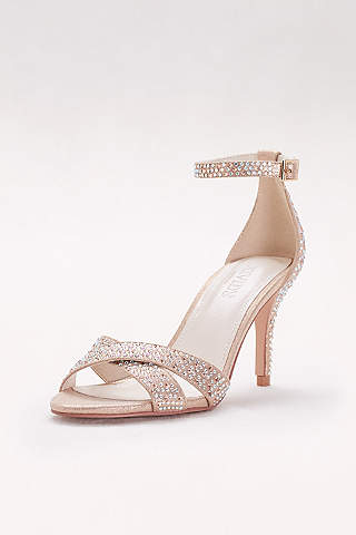 David's Bridal Pink Sandals (Crystal-Studded Crisscross Mid-Heel Sandals)