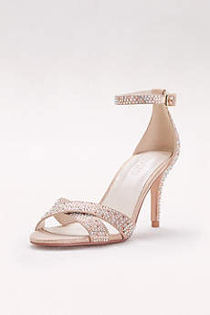 David's Bridal Pink Sandals (Crystal-Studded Crisscross Mid-Heel Sandals)