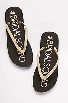 David's Bridal Black Flip Flops (Bridal Squad Flip-Flops)