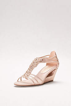 New York Transit Beige Wedge Shoes (Cutout Wedges with Crystal-Studded Vamp)