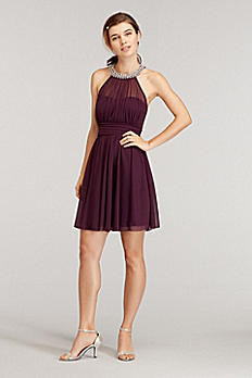 Pearl Trimed Halter Dress with Illusion Neckline C31771J33