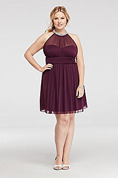 Short Illusion Jersey Dress with Pearl Neckline C31771WJ33