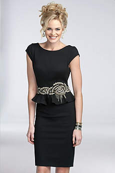 Short Sheath Cap Sleeves Cocktail and Party Dress - Terani Couture