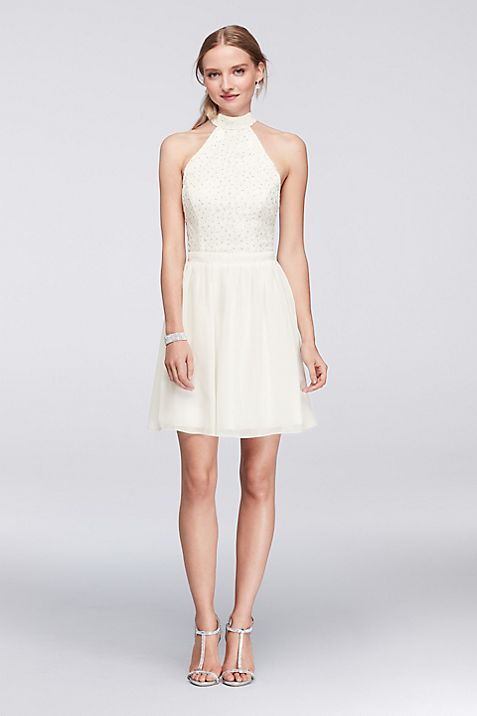 Glitter Lace High-Neck Dress with Keyhole Back | David\'s Bridal