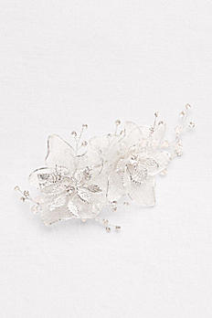 Floral Organza Hair Clip with Crystals C800