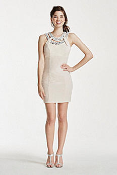 Short Halter Dress with Crystal Beaded Neckline C906332X9I
