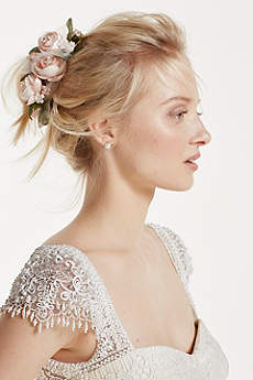 Rose and Tulle Flower Clip
