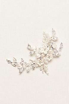 Porcelain Hair Clip with Pearls and Rhinestones C9103