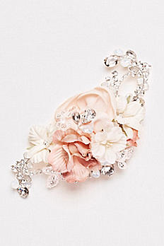 Fabric Floral Comb with Crystals C9131