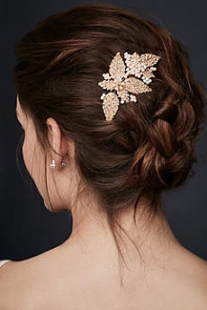 Pearl and Crystal Floral Comb