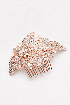 Pearl and Crystal Floral Comb C9146