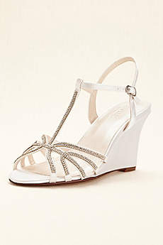 David's Bridal White Wedge Shoes (Crystal T-Strap Dyeable Wedge)