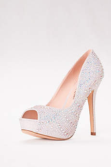Blossom Beige Peep Toe Shoes (High Heel Crystal-Embellished Platform)