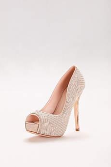 Blossom Beige Peep Toe Shoes (Geometric Pearl Platform Peep-Toe Heels)